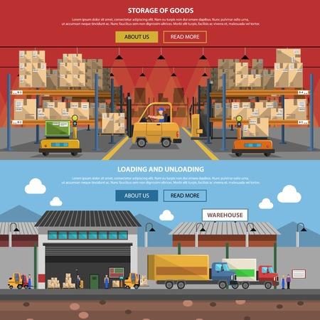 carretillas almacen: Almacén banner horizontal conjunto con elementos de almacenamiento de productos planos aislados ilustración vectorial