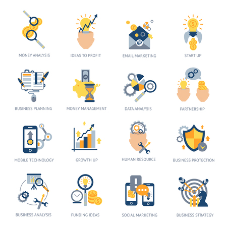 user: Business analysis icons set with money idea campaign planning isolated vector illustration Illustration