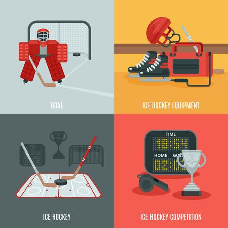 valigia: Giocando icone di hockey su ghiaccio fissati con la concorrenza attrezzature e obiettivo piatto isolato illustrazione vettoriale Vettoriali