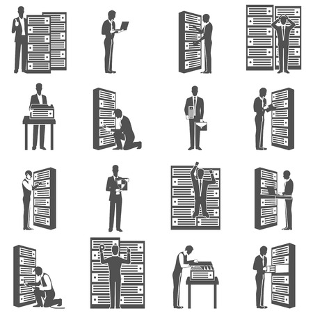 datacenter: Datacenter icons set with computer servers and technician silhouettes isolated vector illustration
