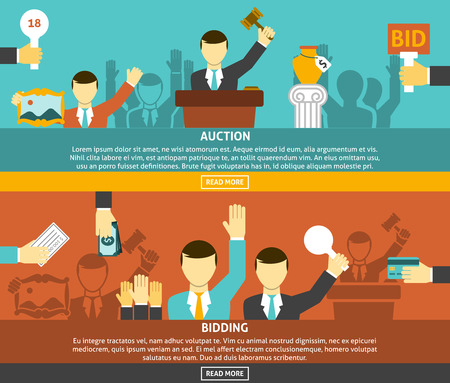 Auction and bidding horizontal banners set with hands and money flat isolated vector illustration Ilustração