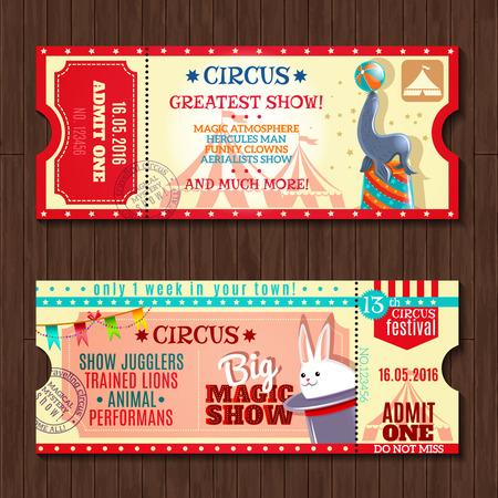 m�gica: Circo gran espect�culo de magia con animales entrenados dos plantillas tickets de entrada serie Vintage aislado abstracta ilustraci�n vectorial
