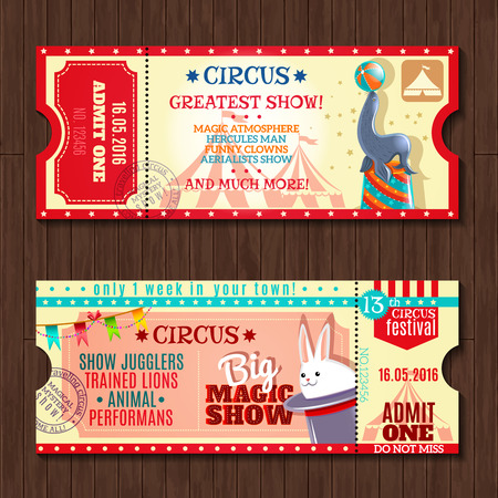 Circus big magic show with trained animals two vintage entrance tickets templates set abstract isolated vector illustration Ilustração