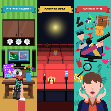 genres: Movies vertical banner set with different film genres elements isolated vector illustration