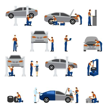 Mechanic vlakke pictogrammen set met geïsoleerde werkende man silhouetten vector illustratie Stock Illustratie
