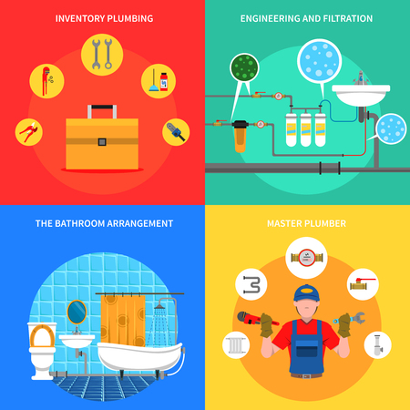 plumbing tools: Plumbing design concept set with master plumber flat icons isolated vector illustration Illustration