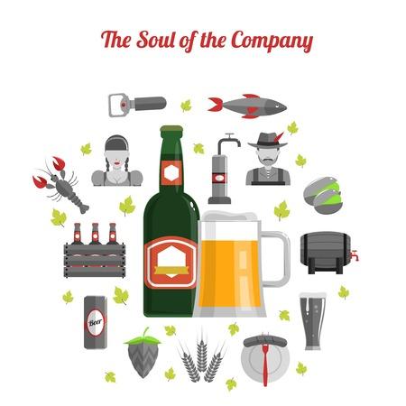 mini bar: Beer festival concept with bottle glass and flat drink symbols set vector illustration