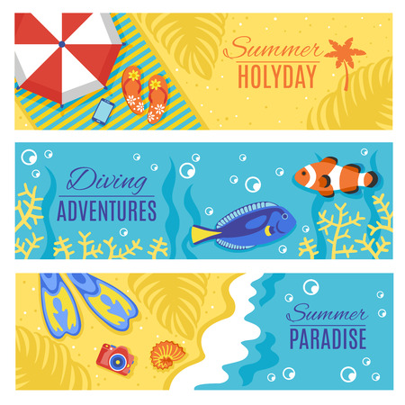 swimming at the beach: Summer paradise holiday adventures horizontal flat banners set with swimming and diving accessories abstract isolated vector illustration