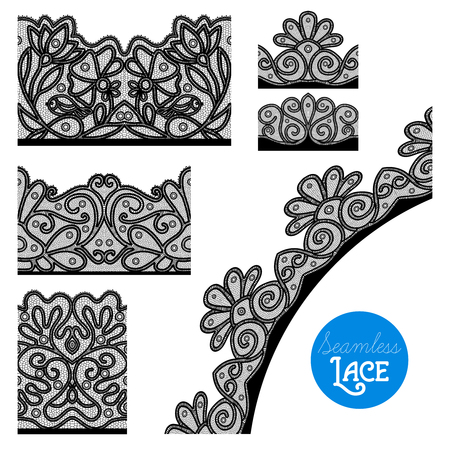 vintage lace: Retro style black lace decorative border set isolated vector illustration