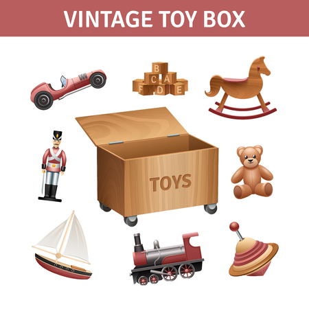toy boat: Vintage toy box set with rocking-horse train and ship realistic isolated vector illustration Illustration