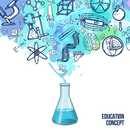 education: Concept de l'éducation avec flacon de laboratoire réaliste et symboles scientifiques esquisse illustration vectorielle
