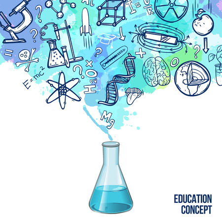 qu�mica: Concepto de la educaci�n con el frasco de laboratorio realista y s�mbolos de la ciencia de dibujo ilustraci�n vectorial Vectores