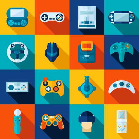 Video game flat long shadow icons set isolated vector illustration