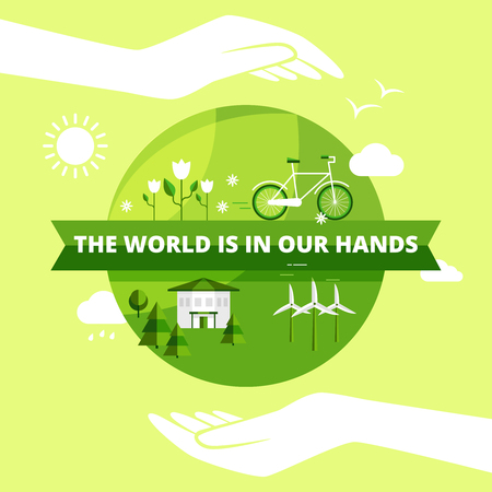 Ecology friendly design with world in hands sun and clouds flat vector illustration