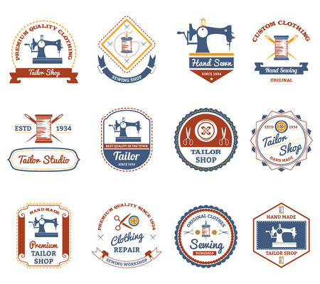 Vintage tailor shop original labels set with antique sewing machine and treads bobbin abstract isolated vector illustration Illustration