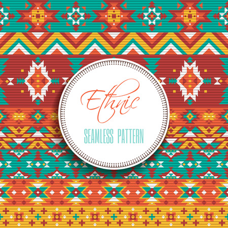 stripe pattern: Ethnic or tribal geometric elements and stripe style flat color seamless pattern vector illustration