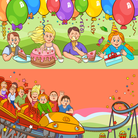 merrily: Child birthday holiday with cakes gifts balloons and attraction color cartoon horizontal banner set vector illustration