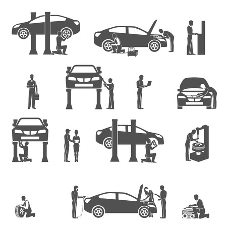 service lift: Auto mechanic technician  performing diagnostic test and  full car service black icons set abstract vector isolated illustration Illustration