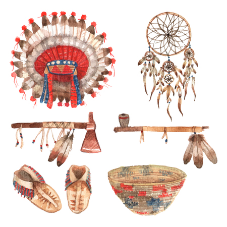 native american tomahawk: Native american indial tribal amulets and household items collection with feathers headdress watercolor abstract isolated vector illustration