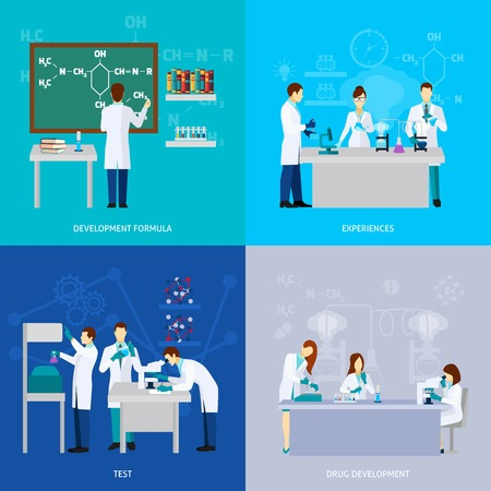 Drugs: Scientists design concept set with drug development flat icons isolated vector illustration