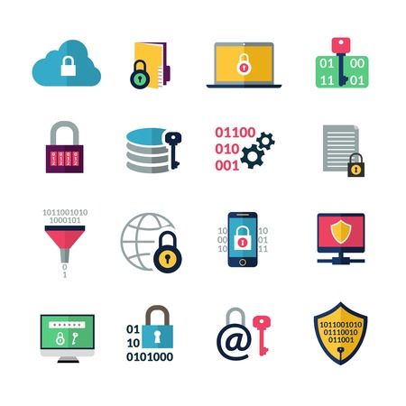 shield set: Data encryption and information protection technology icons isolated vector illustration