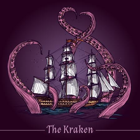 barco pirata: Kraken emblema decorativo con el barco de vela en los tentáculos del monstruo gigante de color ilustración vectorial boceto