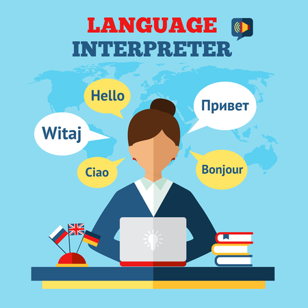 Language translator concept with woman sitting on table with laptop and world map on background flat vector illustration