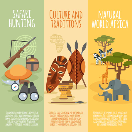 traditions: African natural world culture traditions and safari hunting 3 flat vertical banners set  abstract isolated vector illustration