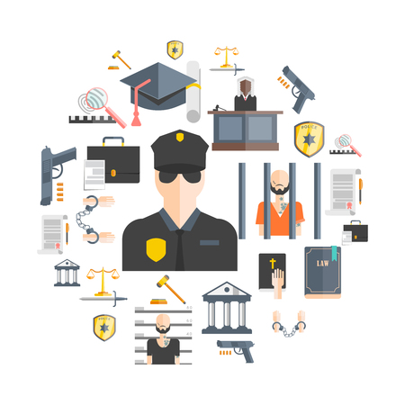 breaking law: Justice and punishment concept with court judges and police flat vector illustration