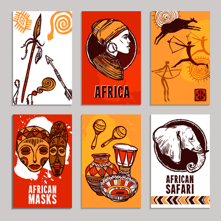 south african: Africa poster set with safari and masks sketch elements isolated vector illustration