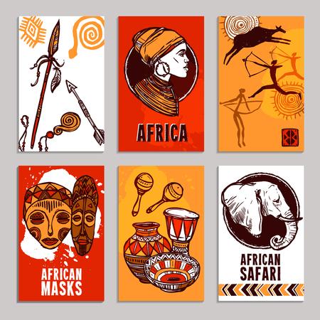 Cartel África establece con safari y máscaras elementos del bosquejo aislado ilustración vectorial Vectores