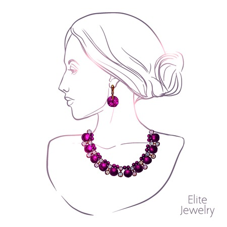 earrings: Young pretty woman head silhouette necklace and earrings jewelry vector illustration