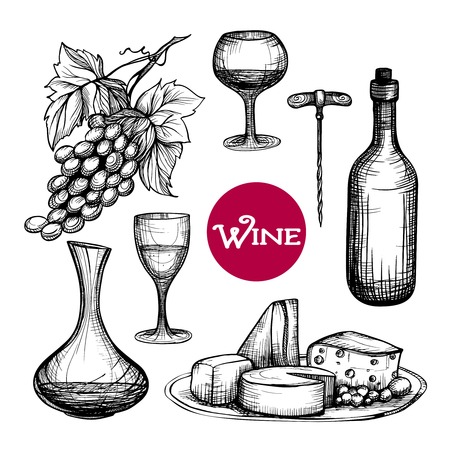 wine grape: Hand drawn wine set with grape branch drink bottle cheese isolated vector illustration Illustration