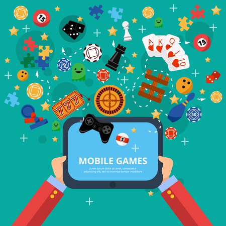 Mobile gambling games of fortune poster with long hands holding electronic device flat abstract isolated vector illustration Illustration