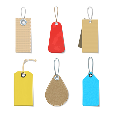 Colored and bright labels and tags realistic icons  set for clothes isolated vector illustration Illustration