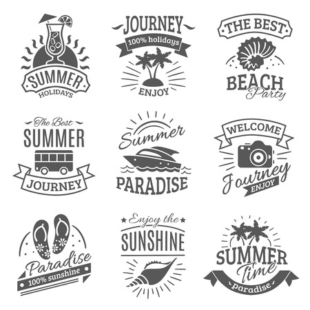 Summer holiday travel agencies labels set with best journeys to tropical beach black abstract isolated vector illustration Stock Illustratie