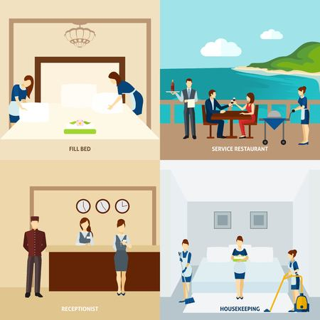 orden y limpieza: El personal del hotel concepto de diseño conjunto con el servicio y limpieza iconos restaurante aislado ilustración vectorial Vectores