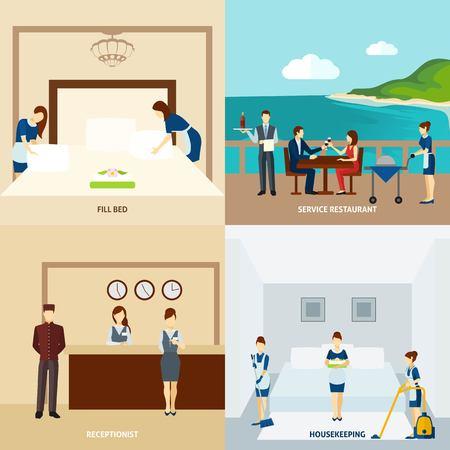 albergo: Il personale dell'hotel concetto di design set con ristorante e servizio di pulizia icone illustrazione vettoriale isolato Vettoriali
