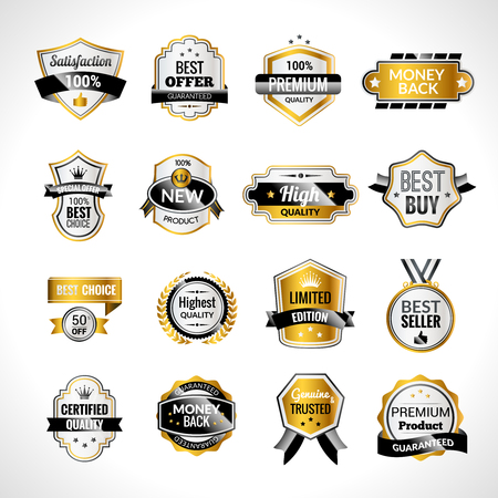 Luxury product sale labels gold and black set isolated vector illustration