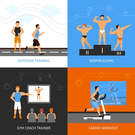 cardio workout: Trainer design concept set with bodybuilding and cardio workout flat icons isolated vector illustration