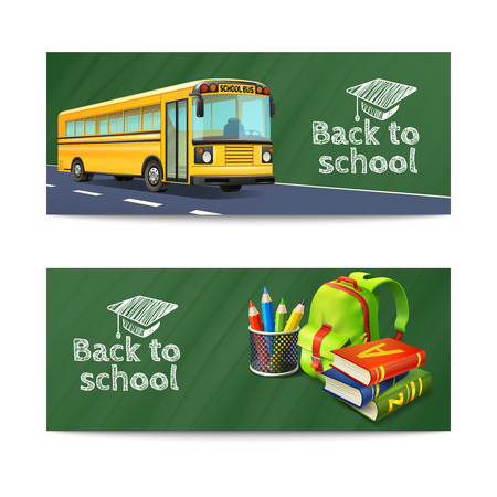 bus: Back to school horizontal banners set with bus rucksack and books realistic isolated vector illustration