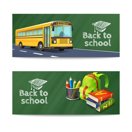back: Volver a Banderas horizontales escolares establecidos con la mochila de autobuses y libros realista ilustraci�n vectorial aislado Vectores