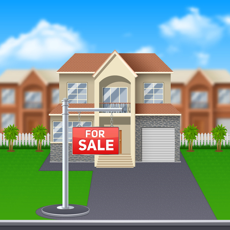 house for sale: House for sale with lawn and garage and big windows cartoon vector illustration