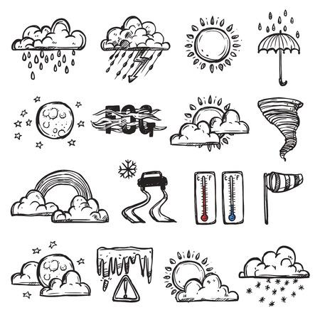 Doodle weer set met geïsoleerde prognose en natuur pictogrammen vector illustratie