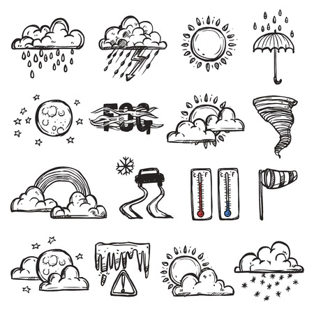 Doodle weather set with forecast and nature icons isolated vector illustration Vettoriali