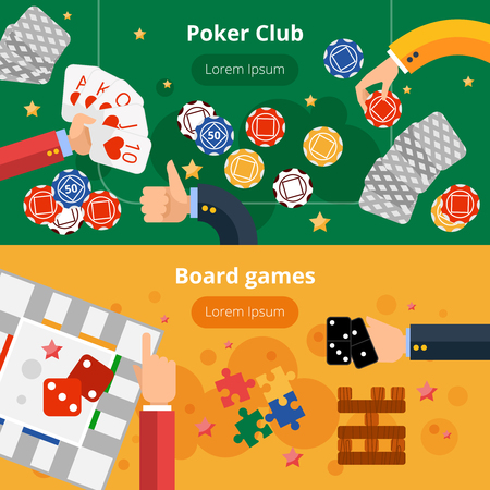 board games: Online poker club and board gambling games interactive webpage two flat banners design abstract isolated vector illustration