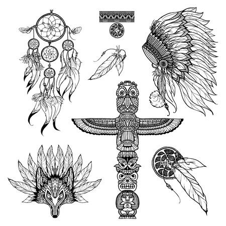 atrapasueños: Conjunto del doodle tribal con el atrapasueños máscara animales y tótem aislado ilustración vectorial