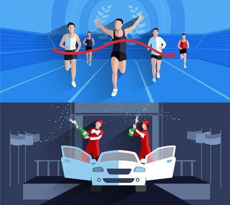 athletes: Winner horizontal banners composition with sports competitions flat isolated vector illustration