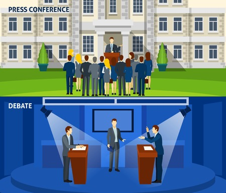 press conference: Political  party leader press conference and  presidential election debate 2 flat banners set abstract isolated vector illustration. Editable EPS and Render in JPG format Illustration