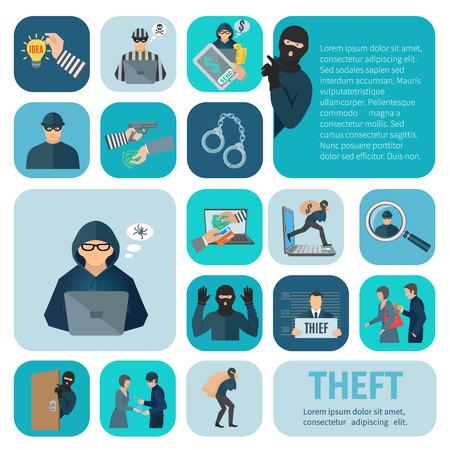 ladrón: Iconos robo y robo de conjunto con el robo y el carterista plana aislados ilustraci�n vectorial Vectores